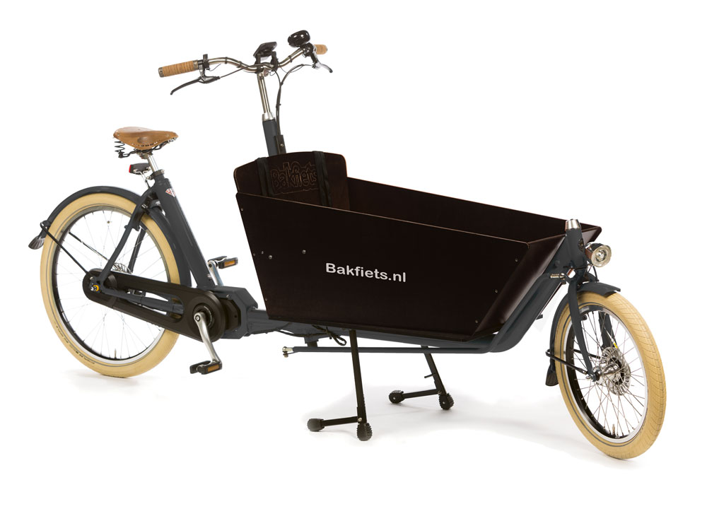 Bakfiets Cargobike Steps Cruiser long in Farbe granit matt