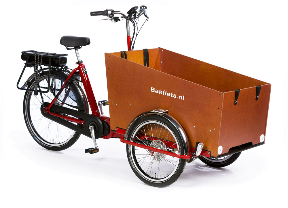Bakfiets.nl CargoTrike Classic Wide Steps in Farbe Rot